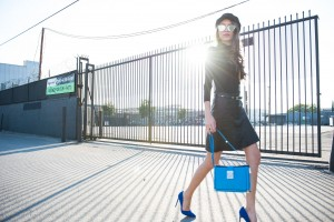 Thania peck catcher in the style black leather skirt