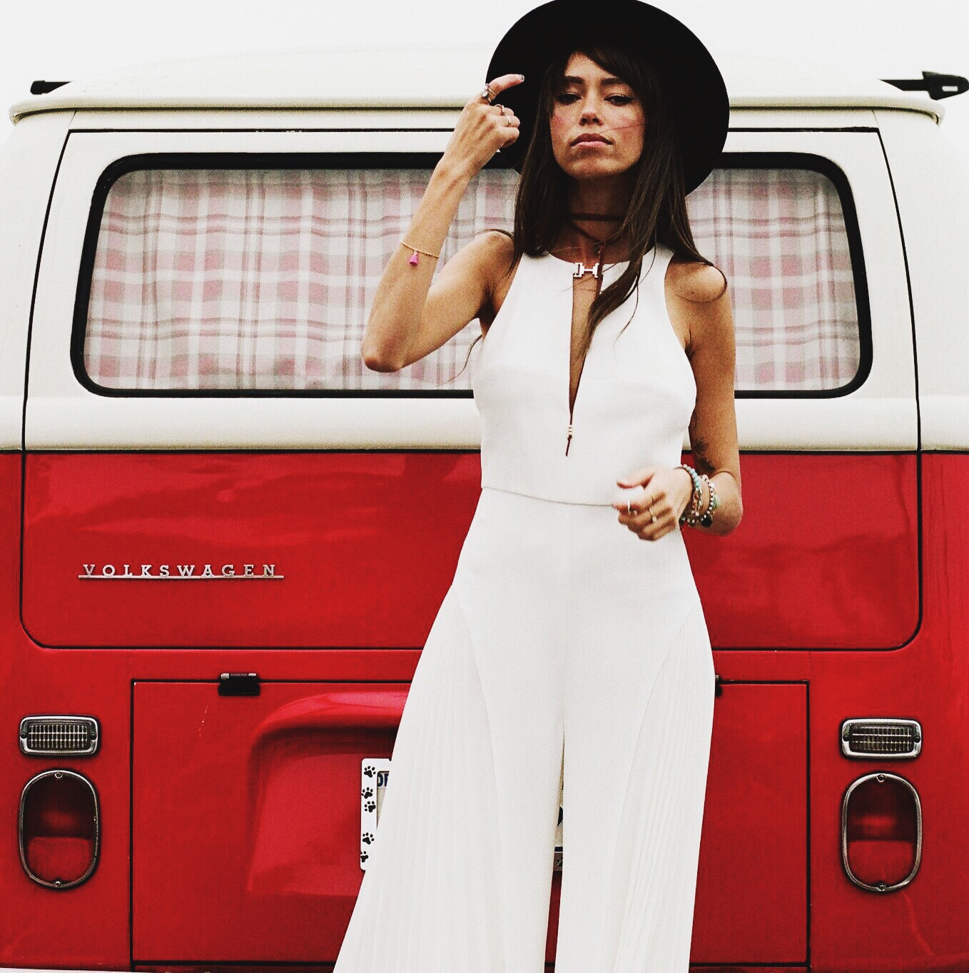White jump suit Thania Peck 2
